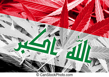 Iraq Flag on cannabis background. Drug policy. Legalization...