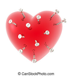 love heart with screw isolated on white