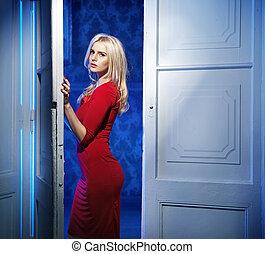 穿, 長袍,  beautofil, 婦女, 紅色