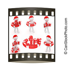 Set. Concept of life-saving with 3d man.3d illustration. The film strip