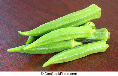 Okra - Fresh okra over white background