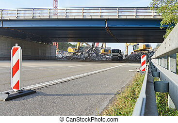 demolition of highway bridge