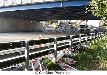 demolition of highway bridge