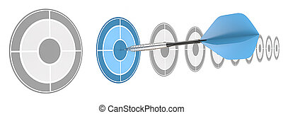 Strategical. - Horizontal row of targets. Blue dart hitting...