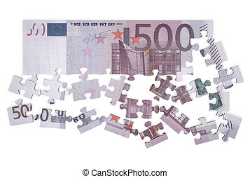 500 euro puzzle isolated on white background