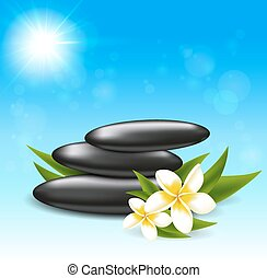 Tropical flowers and spa stones