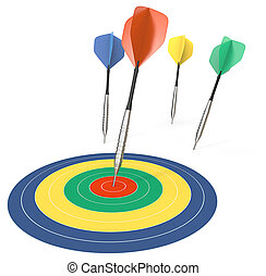 Performance - 4 Dart arrows One hitting target Color theme...