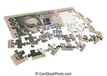 500 hryvna puzzle isolated on white background