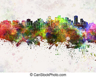 Edmonton skyline in watercolor background