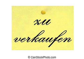 Sale - Notepaper with the german words for sale isolated...