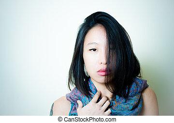 mujer, Arriba, Mirar, cámara, asiático, cierre