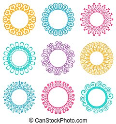 Napkin lace design elements - Set of beautiful colorful...