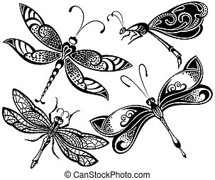 Dragonfly set - Vector Dragonfly