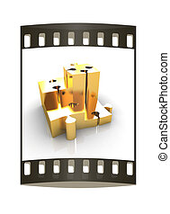 Concept of growth of gold puzzles. The film strip - Concept...