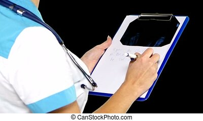 Doctor making notes during therapy session. Alpha channel. -...