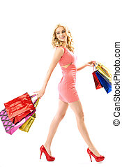 Blond cute woman on the shoping - Blond cute woman on the...