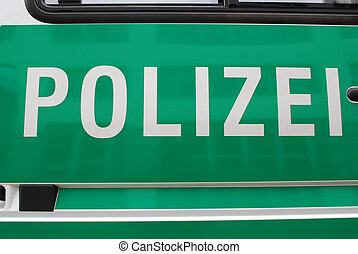 german police car, green background and white text with the...