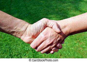 two people shaking hands in front of defocused green...