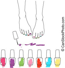 Female feet with pedicure, chiropody, vector - Pedicure,...