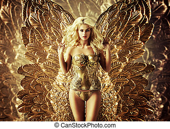 Blond tempting woman with the golden wings - Blond tempting...
