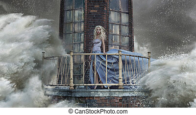 Conceptual photo of a woman standing on the lighthouse -...