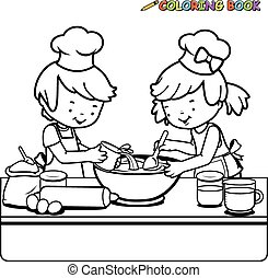 children cooking coloring page