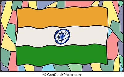 India Flag On Stained Glass Window - An India flag design on...