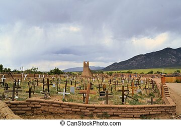 Christian cemetary in Taos Pueblo, New Mexico