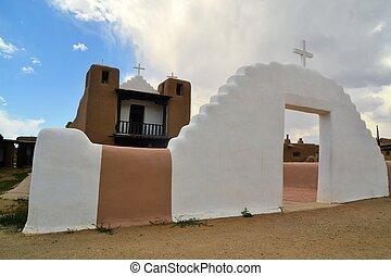 教堂,  Pueblo, 新,  Taos, 墨西哥