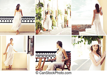 Collage of young women on vacation - Collage of young and...