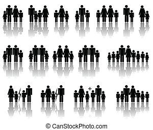 Family silhouettes - Abstract vector illustration of several...