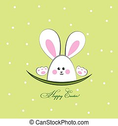 Happy Easter Greeting Card with Car