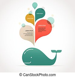 whale icon with speech bubbles - vector whale illustration...