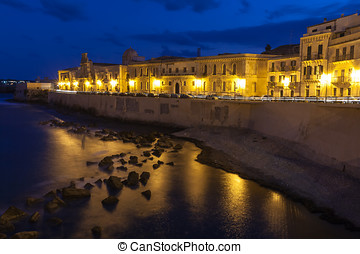 Siracusa - Historic Sicilian city - Waterfront street and...