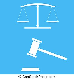 Scales of justice and gavel.