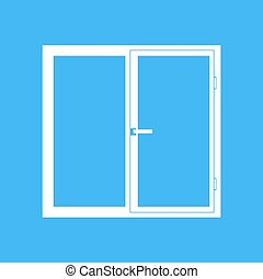 Plastic window on a blue background Vector illustration