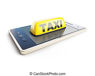 Taxi sign mobile phone on a white background