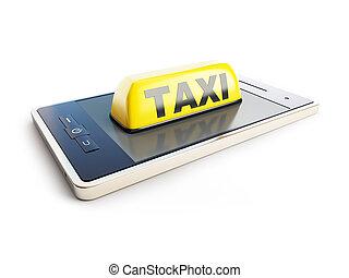 taxi, señal, móvil, teléfono, en, Un,...