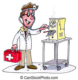 computer doctor - A man dressed as a doctor checking a...