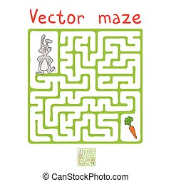 Vector Maze, Labyrinth with Rabbit and Carrot - Vector Maze,...