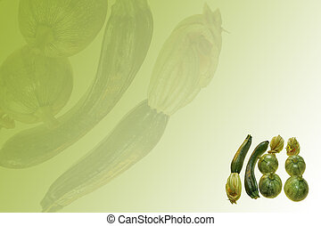 courgette - some ripe courgette on green background