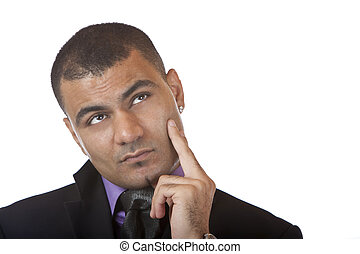 Portrait of Businessman looking contemplative isolated on white