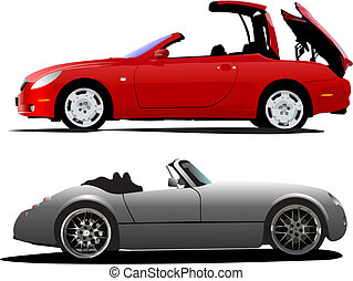 Two  cars cabriolet on the road. Vector illustration