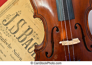 German ancient violin and notes. Old violin, copy of Majini...