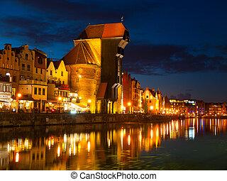 Gdańsk, stary, miasto, i, Sławny, żuraw, przez, Noc,