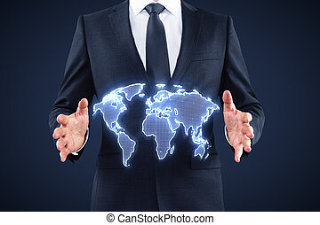 world map interface - businessman holding digital world map...