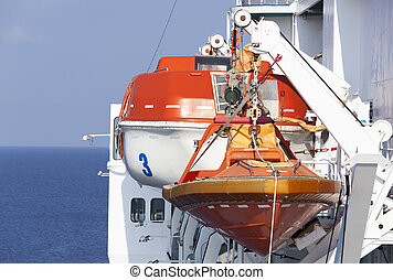 Lifeboats - Close view of a rescue boat and a lifeboat...