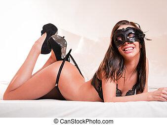 Sensuality - Sensual lavish brunette beauty wearing black...