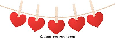 Hearts and clothespins - Red hearts with clothespins hanging...