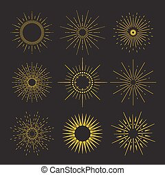 9 Art deco vintage sunbursts collection with geometric shape, light ray. Set of vintage sunbursts in different shapes.